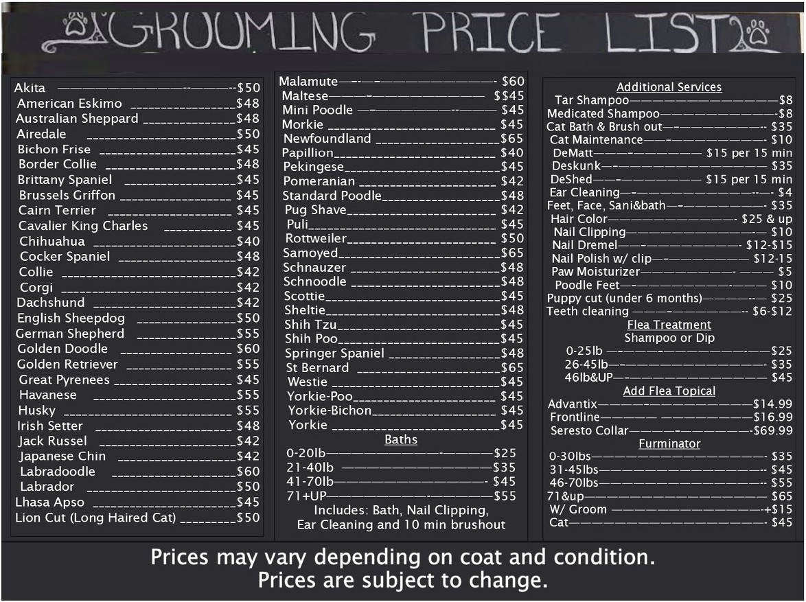 Dog Grooming Prices Near Me