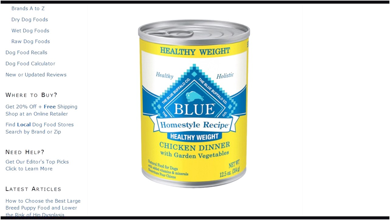 Blue Buffalo Dog Food Recall 2017